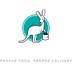 Deliveroo logo (reversed, text underneath, English tagline, 300x300px)